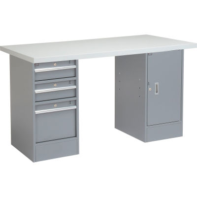 Global Industrial™ 96 x 30 Pedestal Workbench - 3 Drawers & Cabinet, Laminate Square Edge Gray