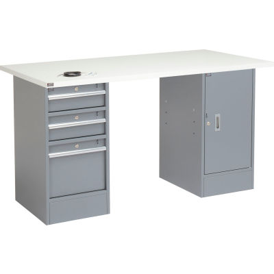 Global Industrial™ 96x30 Pedestal Workbench, 3 Drawers & Cabinet, ESD Laminate Square Edge Gray