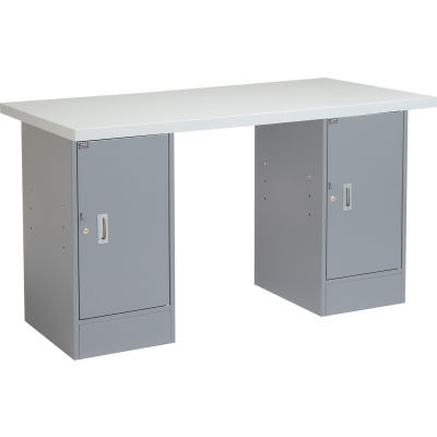Global Industrial™ 96x30 Pedestal Workbench - Double Cabinet, Plastic Laminate Square Edge Gray