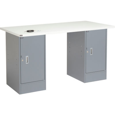 Global Industrial™ 96 x 30 Pedestal Workbench - Double Cabinet, ESD Laminate Square Edge - Gray