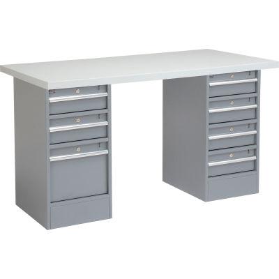 Global Industrial™ 96 x 30 Pedestal Workbench - 7 Drawers, Plastic Laminate Square Edge - Gray