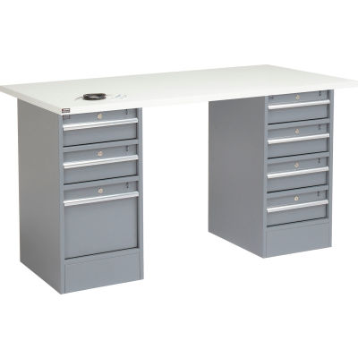 "Global Industrial™ 96""W x 30""D Pedestal Workbench - 7 Drawers, ESD Laminate Square Edge - Gray"
