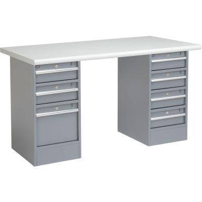 "72"" W x 30"" D Pedestal Workbench W/ 7 Drawers, Plastic Laminate Safety Edge - Gray"