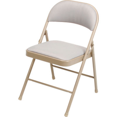 Interion® Steel Folding Chair with Padded Fabric - Beige - Pkg Qty 4