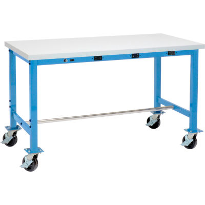 Global Industrial™ 60 x 30 Mobile Packing Workbench - Power Apron - Laminate Square Edge - Blue