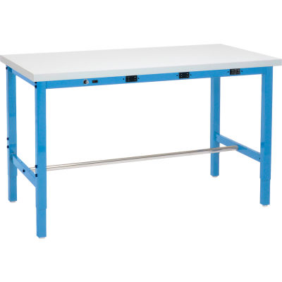 """Global Industrial™ Laminate Square Edge Packing Workbench W/ Power Apron, 72""""W x 30""""D, White"""