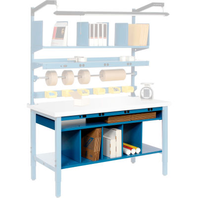 """Global Industrial™ Lower Shelf Kit 72 x 25 with Removable Dividers for 72""""W x 30""""D Bench - Blue"""
