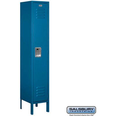 """Single Tier 1 Door Metal Locker, 12""""Wx12""""Dx60""""H, Blue, Unassembled"""