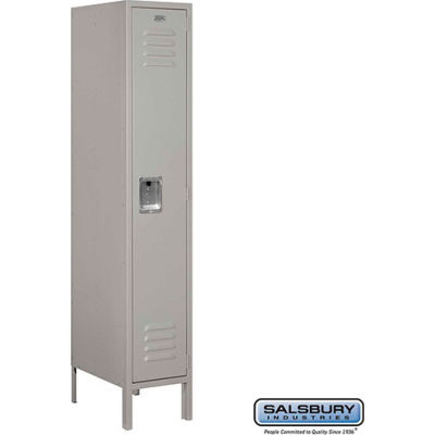 """Single Tier 1 Door Metal Locker, 12""""Wx18""""Dx60""""H, Gray, Assembled"""