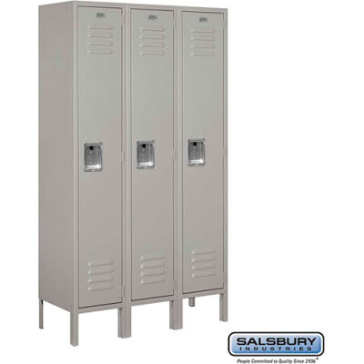 "Single Tier 3 Door Metal Locker, 12""Wx12""Dx60""H, Gray, Assembled"