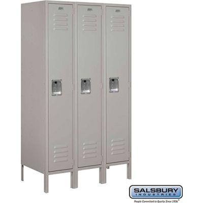 """Single Tier 3 Door Metal Locker, 12""""Wx18""""Dx60""""H, Gray, Assembled"""