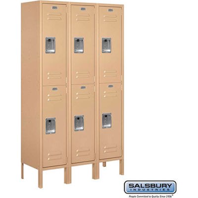 "Double Tier 6 Door Metal Locker, 12""Wx12""Dx30""H, Tan, Assembled"