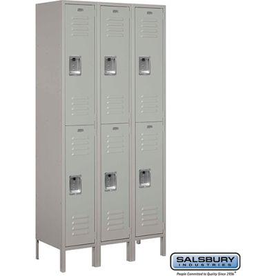 """Double Tier 6 Door Metal Locker, 12""""Wx15""""Dx36""""H, Gray, Unassembled"""