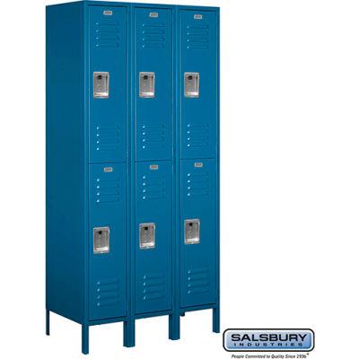"""Double Tier 6 Door Metal Locker, 12""""Wx18""""Dx36""""H, Blue, Assembled"""