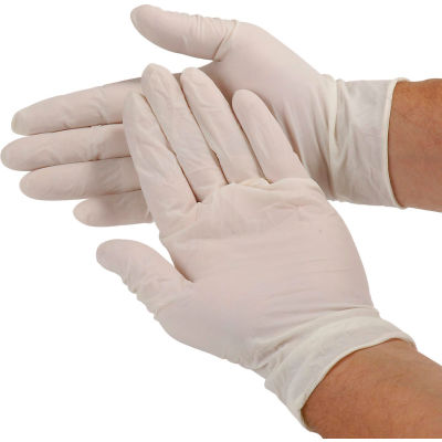 Safety Zone Industrial Grade Latex Gloves, Powdered, Large, White, 100/Box, GRDR-LG-1-T
