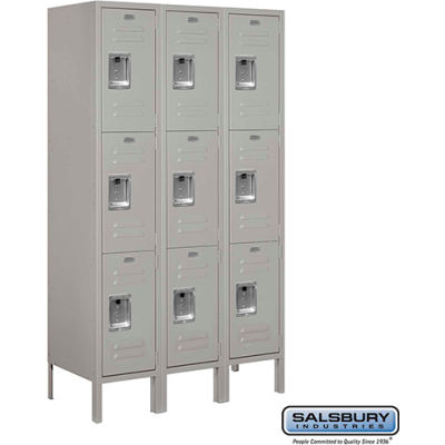 "Triple Tier 9 Door Metal Locker, 12""Wx15""Dx20""H, Gray, Assembled"