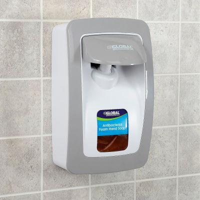 Global Industrial™ Manual Dispenser for Foam Hand Soap/Sanitizer - White/Gray