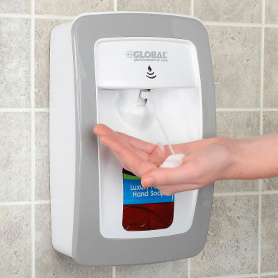 Global Industrial™ Automatic Dispenser for Foam Hand Soap/Sanitizer - White/Gray