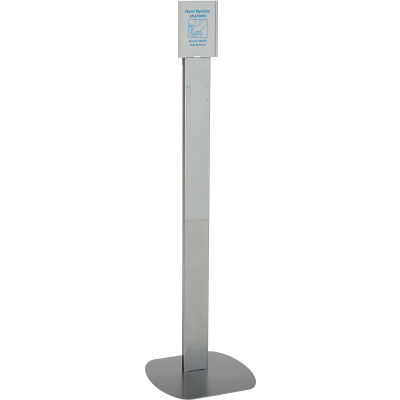 Global Industrial™ No Touch Floor Stand for Global Hand Soap/Sanitizer Dispensers - Silver