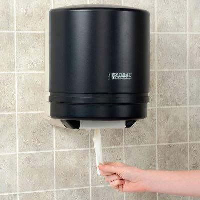 "Global Industrial™ Plastic Center Pull Paper Towel Dispenser - 9"" Roll, Smoke Gray/Beige Finish"