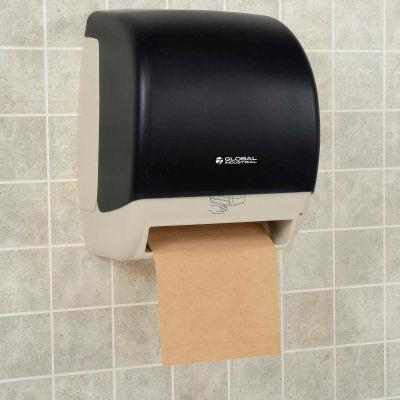 "Global Industrial™ Plastic Auto Roll Paper Towel Dispenser - 8"" Roll, Smoke Gray/Beige Finish"