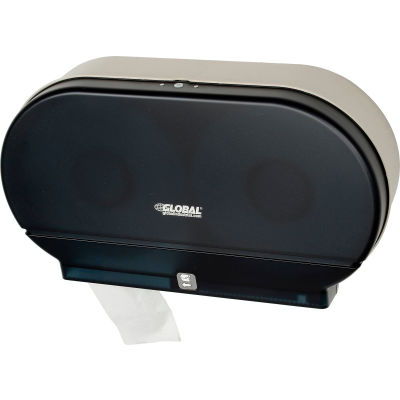 "Global Industrial™ Plastic Twin Jumbo Roll Toilet Tissue Dispenser, Two 9"" Rolls, Gray"