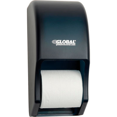 "Global Industrial™ Plastic Standard Double Toilet Tissue Dispenser, Two 5-1/4"" Rolls, Gray"