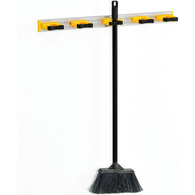 "Global Industrial™ Mop & Broom Holder, Gray/Black/Yellow, 27-1/2"", 5 Prongs"