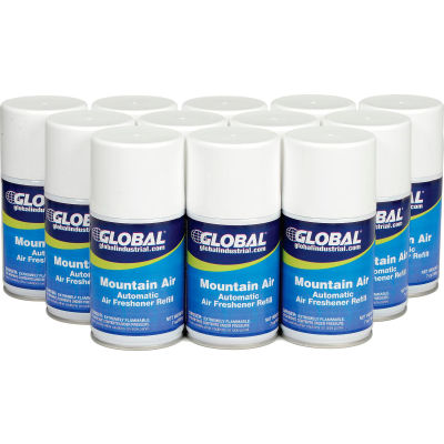 Global Industrial™ Automatic Air Freshener Refills, Mountain Air 7 oz. Can - 12 Refills/Case