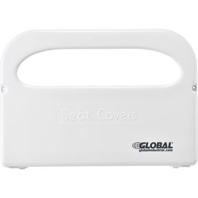 """Global Industrial™ Plastic Toilet Seat Cover Dispenser 16""""W x 2-1/5""""D x 11""""H - White"""