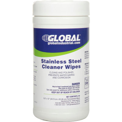 Global Industrial™ Stainless Steel Cleaner Wipes, 40 Wipes/Canister, 6 Canisters/Case