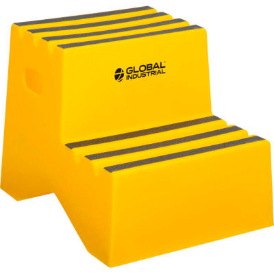 """Global Industrial™ 2 Step Plastic Step Stand - 21""""W x 19-1/2""""D x 24-1/2""""H, Yellow"""