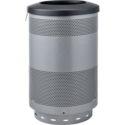 Global Industrial™ 55 Gallon Perforated Steel Receptacle w/ Flat Lid - Gray