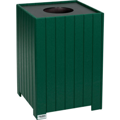 Global Industrial™ 32 Gallon Square Recycled Plastic Receptacle W/ Liner, Green