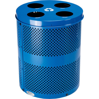 Global Industrial™ Thermoplastic 32 Gallon Perforated Recycling Receptacle w/Multi-Stream Lid - Blue