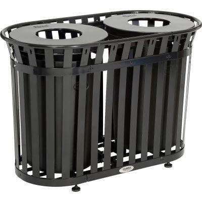 Global Industrial™ Outdoor Metal Slatted Double Trash Receptacle w/ Flat Lid - 72 Gal Black