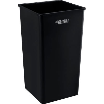 Global Industrial™ Square Plastic Trash Container, Garbage Can - 50 Gallon Black