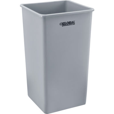 Global Industrial™ Square Plastic Trash Container, Garbage Can - 50 Gallon Gray