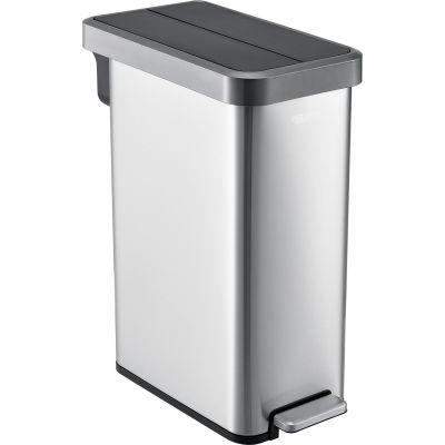 Global Industrial™ Stainless Steel Slim Butterfly Step Trash Can - 12 Gallon