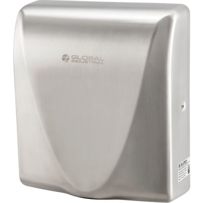 Global Industrial™ High Velocity Automatic Thin Hand Dryer, ADA, Brushed Stainless, 120V