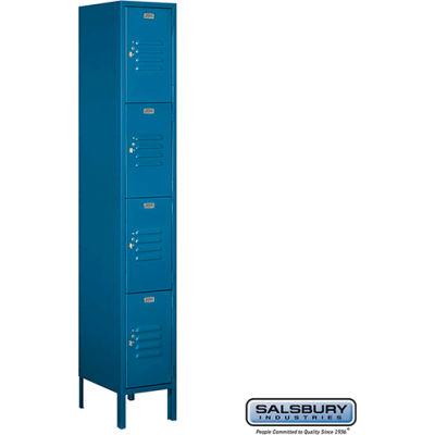 """Four Tier 4 Door Metal Locker, 12""""Wx15""""Dx18""""H, Blue, Unassembled"""