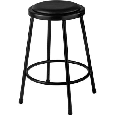 """Interion® 24""""H Steel Work Stool with Vinyl Seat - Backless - Black - Pack of 2"""