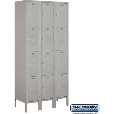 "Four Tier 12 Door Metal Locker, 12""Wx15""Dx18""H, Gray, Unassembled"