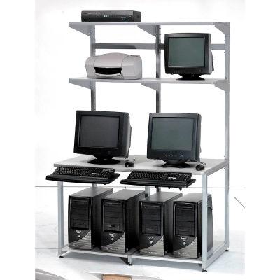 "Global Industrial™ 48"" Computer LAN Workstation, 48""W x 30""D x 74""H, Gray, Unassembled"
