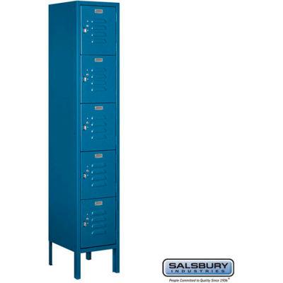 """Five Tier 5 Door Metal Locker, 12""""Wx12""""Dx12""""H, Blue, Unassembled"""