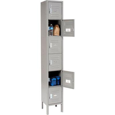 """Global Industrial™ Paramount® Six Tier 6 Door Locker, 12""""Wx18""""Dx12""""H, Gray, Unassembled"""