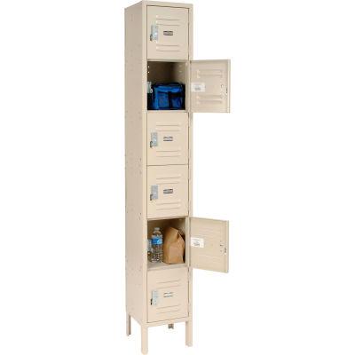 Global Industrial™ Locker Six Tier 12x12x12 6 Door Ready To Assemble Tan