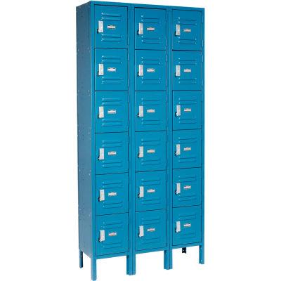 Global™ Locker Six Tier 12x15x12 18 Door Ready To Assemble Blue