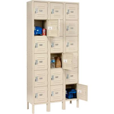 """Global Industrial™ Paramount® Six Tier 18 Door Locker, 12""""Wx18""""Dx12""""H, Tan, Unassembled"""