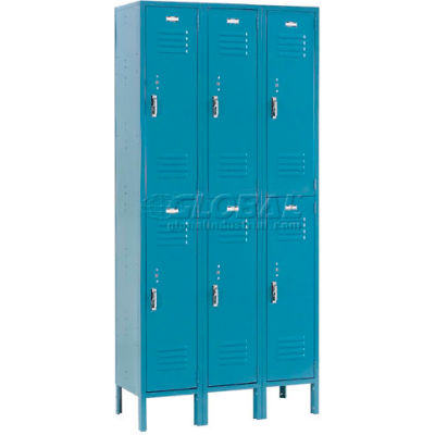 "Global Industrial™ Paramount® Double Tier 6 Door Locker, 12""Wx12""Dx36""H, Blue, Unassembled"